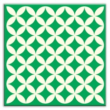"Folksy Love 4-1/4"" x 4-1/4"" Glossy Decorative Tile in Needle Point Green"