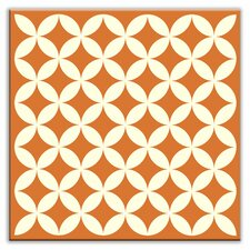 "Folksy Love 4-1/4"" x 4-1/4"" Glossy Decorative Tile in Needle Point Orange"
