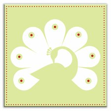 "Folksy Love 4-1/4"" x 4-1/4"" Satin Decorative Tile in Primped Peacock Mint-White"
