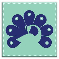 "Folksy Love 4-1/4"" x 4-1/4"" Satin Decorative Tile in Primped Peacock Teal-Navy"
