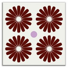 "Folksy Love 4-1/4"" x 4-1/4"" Glossy Decorative Tile in Pinwheels Burgundy"