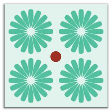 "Folksy Love 4-1/4"" x 4-1/4"" Satin Decorative Tile in Pinwheels Mint"
