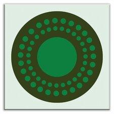 "Folksy Love 4-1/4"" x 4-1/4"" Satin Decorative Tile in Sunshine Green"