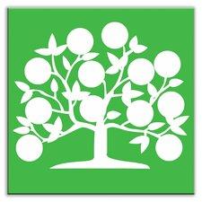 """Folksy Love 4-1/4"""" x 4-1/4"""" Satin Decorative Tile in Tree of Life Green"""
