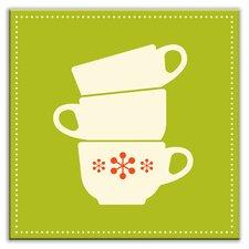"Kitschy Kitchen 4-1/4"" x 4-1/4"" Satin Decorative Tile in Coffee Time Green-Cream"