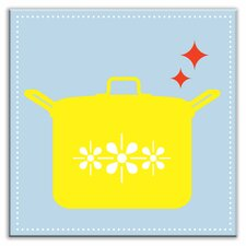 """Kitschy Kitchen 4-1/4"""" x 4-1/4"""" Glossy Decorative Tile in What's Cookin Light Blue-Yellow"""