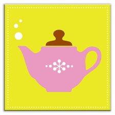 "Kitschy Kitchen 4-1/4"" x 4-1/4"" Satin Decorative Tile in Spot of Tea Green-Pink"