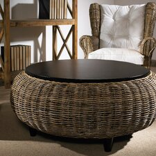 Paradise Cocktail Ottoman with Wood Top