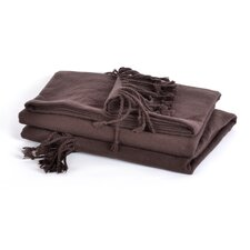 Luxe Boutique Cotton Acrylic Fringed Woven Throw