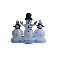 6 ft. Snowman with Penguins Lightshow Decoration