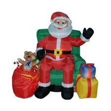Christmas Inflatable Animated Santa Claus in Green Chair Decoration