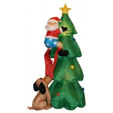 Christmas Inflatable Santa Claus Climbing on Christmas Tree Decoration