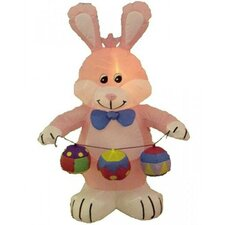Easter Inflatable Rabbit with Colored Eggs Decoration