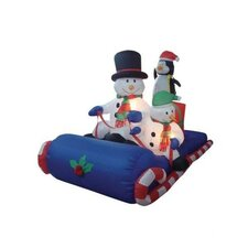 6' Long Christmas Inflatable Snowmen Sitting on Sled