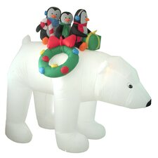 Christmas Inflatables Penguins on Polar Bear Decoration