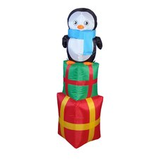 Christmas Inflatable Penguin on Gift Box Decoration
