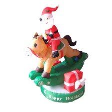 Christmas Inflatable Santa on Rocking Horse Decoration