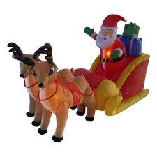 Christmas Inflatable Santa on Sleigh with Reindeer Decoration