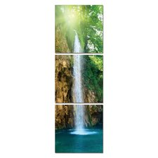 Clear Waterfall Modern 3 Piece Photographic Print