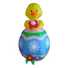 Easter Inflatable Chick with Flower