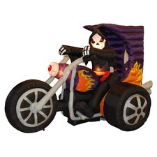 Halloween Inflatable Skeleton on Motorcycle Decoration