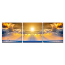 Ocean and Sun Modern 3 Piece Photographic Print