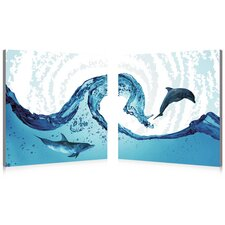 Dolphin in the Ocean Modern 2 Piece Photographic Print