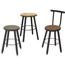 Quick Ship Fixed Height Square Tube Hardwood Seat Stool