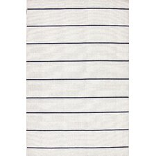 C. L. Dhurries Ivory/Black Stripe Area Rug