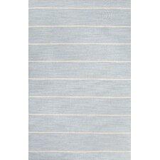 C. L. Dhurries Blue/Ivory Stripe Area Rug