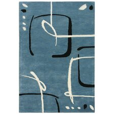 Blue Scribble Down Aegean Blue Area Rug