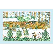Christmas Stable Linen Tea Towel