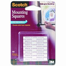 Precut Foam Mounting 1 Squares, Double-Sided, Removable, 16 Squares/pack