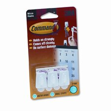 Command Adhesive Micro Utility Hooks, Plastic, White, Three per Pack