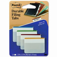 Durable Color Bar Index File Tabs, 2w x 1-3/4h, Five Colors, 24/pack