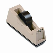 "Heavy Duty Weighted Desktop Tape Dispenser, 3"" core, Plastic, Putty/Brown"
