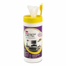 Disinfecting Desk and Office Wet Wipes, 25/Canister