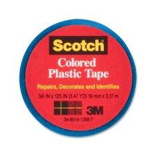"Colored Plastic Tape, Moisture Resistant, 3/4""x125"", Blue"