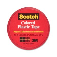 "Colored Plastic Tape, Moisture Resistant, 3/4""x125"", Red"