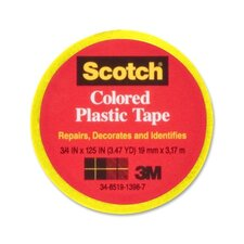 "Colored Plastic Tape, Moisture Resistant, 3/4""x125"", Yellow"