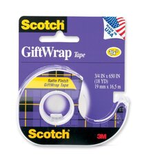 "Giftwrap Tape w/ Dispenser, 3/4""x650"", Clear"