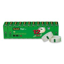 """Magic Office Tape Refills, 3/4"""" x 1000"""" Roll, Clear, 12/Pack"""