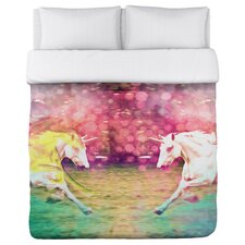 Oliver Gal Mirrored Unicorns Duvet Cover