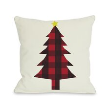 <strong>OneBellaCasa.com</strong> Holiday Plaid Christmas Tree Reversible Pillow