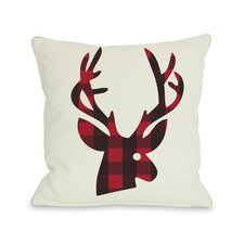 Holiday Plaid Reindeer Reversible Pillow