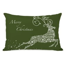 <strong>OneBellaCasa.com</strong> Holiday Snowflake Reindeer Pillow