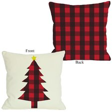 Plaid Christmas Tree Reversible Pillow
