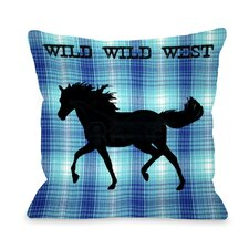 Wild Wild West Horse Plaid Pillow