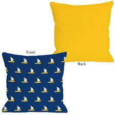 Whimsical All Over Sailboat Pillow