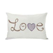 Love Crosshatch Heart Throw Pillow